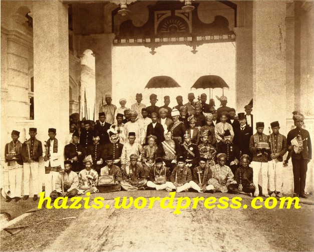 First Durbar (Conference of Rulers) held at Kuala Kangsar, Malaya (now Malaysia) in 1897. Seated, left to right Hugh Clifford (Resident of Pahang), J.P. Rodger (Resident of Selangor), Sir Frank Swettenham (Resident