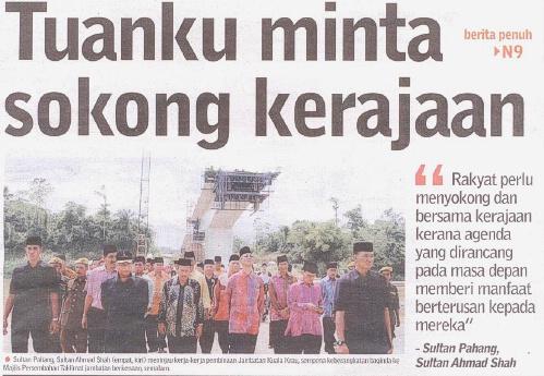 Jambantan Kuala Kerau_Sultan Pahang merasmikan