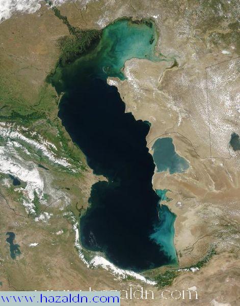 tasek kaspian  dari orbit tasek terbesar di dunia terletak di Azarbaijan